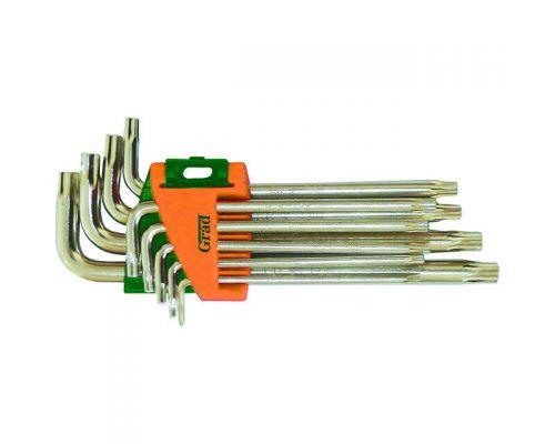 Ключи TORX 9шт T10-T50мм CrV (средние с отвер) Grad (4022285)