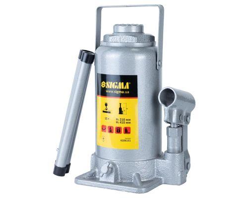 Домкрат гидравлический бутылочный 15т H 210-410мм Standard Sigma (6106151)