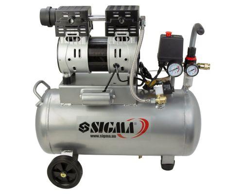Компрессор двухцилиндровый безмасляный 1.1кВт 154л/мин 8бар 30л Sigma (7042531)