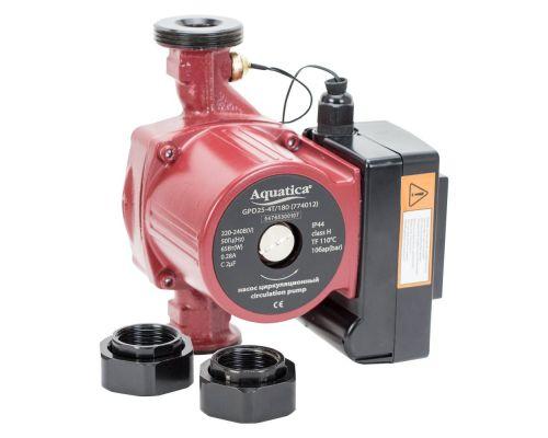 Насос циркуляционный с термодатчиком 65Вт Hmax 4м Qmax 63л/мин Ø1½ 180мм + гайки Ø1 AQUATICA (774012)