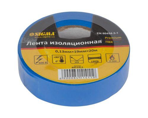 Изолента ПВХ (синяя) 0,13мм×19мм×20м Premium Sigma (8411411)