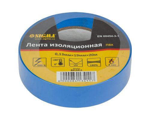 Изолента ПВХ (синяя) 0,13мм×19мм×20м Sigma (8413411)