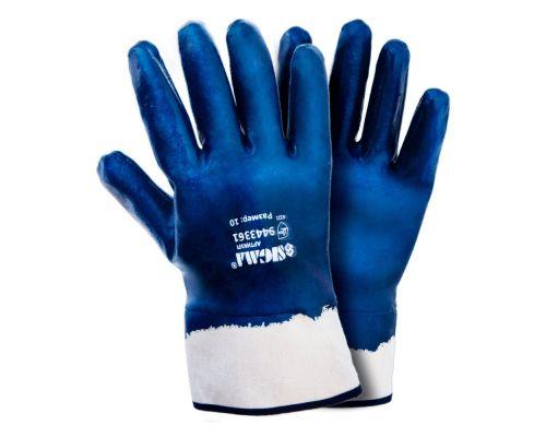 Перчатки трикотажные c нитриловым покрытием (синие краги) Sigma (9443361)