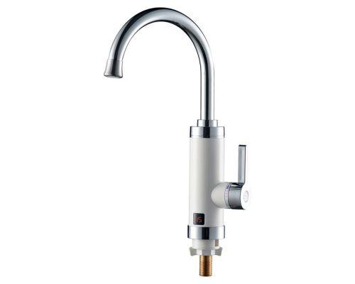 Кран-водонагреватель проточный HZ 3.0кВт 0,4-5бар для кухни гусак ухо на гайке (W) AQUATICA (HZ-6B143W)