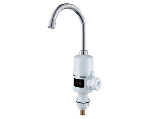 Кран-водонагреватель проточный NZ 3.0кВт 0,4-5бар для кухни гусак ухо на гайке с дисплеем AQUATICA (NZ-6B142W)
