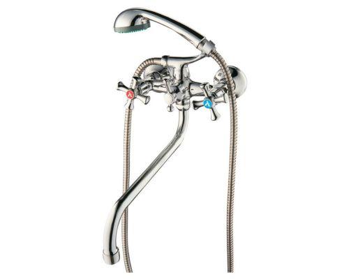 Смеситель PL 1/2 для ванны гусак изогнутый дивертор встроенный шаровый AQUATICA (PL-5C455C)