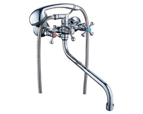 Смеситель VN 1/2 для ванны гусак изогнутый дивертор встроенный шаровый TAU (VN-5C460C)